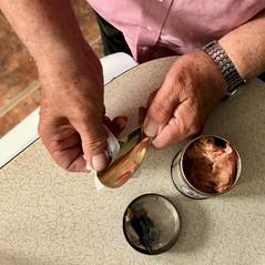 Polishing a brass shoehorn 89-366 (13-4473) (♔ Georgie R) Tags: brass shoehorn polishing