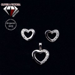 Parure argent coeur 3 pièces (olivier_victoria) Tags: parure argent 925 oreille pendentif zircon bracelet coeur chaine brillant boucle boucles doreilles
