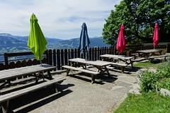 Picnic tables @ Chalets de Varan @ Hike to Chalets de Varan (*_*) Tags: hiking mountain montagne nature randonnee trail sentier walk marche passy 74 hautesavoie france europe faucigny summer ete 2019 june refuge savoie