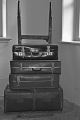 Luggage (42jph) Tags: nikon d7200 uk england settle yorkshire dales railway station mono black white bw