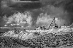 Storm Over Gold Mine (Black and White) (Jeff Sullivan (www.JeffSullivanPhotography.com)) Tags: gold mine storm clouds black white historic mining ghost town nevada usa abandoned rural decay photography canon eos 5dmarkiv photos copyright jeff sullivan may 2019 nik silver efex 2 photomatixpro hdr travel