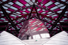Dance Until The Dawn // Cut-up XXV (Novowyr) Tags: paris france fondationlouisvuitton jardindacclimatation frankgehry observatoryoflight stairs staircase show stage bühne showtreppe danielburen cutup mirrored couple leatherjacket sunglasses architecture architektur people rectangles magenta reflections glasssails spectacular