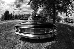 Ford Galaxy 500 '64 in Holmdel NJ (SevenOneSeven Studio) Tags: fisheyelensphotography blackandwhitepolicecar policecar holmdelnj 1964ford fordgalaxy500 blackandwhitephotography