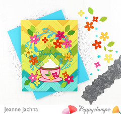 Colorful Coffee Love (akeptlife) Tags: poppystamps card cardmaking papercrafting craftdie morningcup zigzagstripes doodlethankyou thankyou finialcircle bloomingborder floral flower tea hotcocoa
