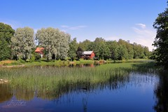 Asphyttan (JHaffling) Tags: blue sky water green summer summerhouse reed canon eosr värmland sweden trees
