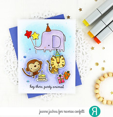 Party Animals (akeptlife) Tags: reverseconfetti partyanimals card cardmaking stamping stamp papercrafting animals monkey elephant tiger birthday craftdie