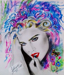 Drawing Madonna. By Silviane Moon. (Silviane Moon) Tags: madonna popart art illustration abstract sketch cansonpaper drawing training coloredpencil fabercastell silvianemoonart silvianemoon