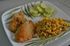Chick'n, Cucumbers, and Corn (Vegan) (Vegan Butterfly) Tags: vegetarian vegan food yummy tasty delicious supper dinner meal plate chickn soy corn cucumbers
