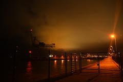 At The Fence (Coquine!) Tags: christianleyk sky himmel wolken clouds bremerhaven germany deutschland weser port hafen night nacht dock schwimmdock crane kran fence zaun