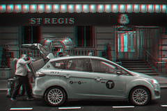 New York, New York (DDDavid Hazan) Tags: newyork newyorkcity manhattan midtown stregis hotel taxi cab driver trunk suitcase luggage passenger street sidewalk streetphotography anaglyph 3d 3danaglyph 3dstereophotography redcyan redcyan3d stereophotography stereo3d