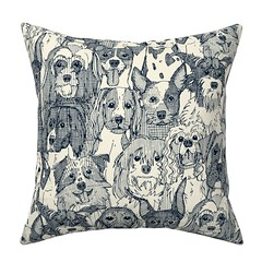 dogs aplenty indigo pearl catalan throw pillow (Scrummy Things) Tags: dog dogs illustration pets spaniel boxer mixedbreeds mutts sharonturner scrummy spoonflower roostery indigo throwpillow cushion home decor