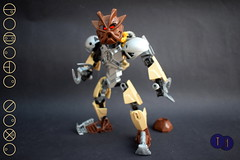 Pohatu Nuva Revamp (Harding Co.) Tags: lego bionicle revamp toa nuva set figure action constraction pohatu stone brown tan sand grey silver mask kanohi tools claw claws boulder feet armour armor