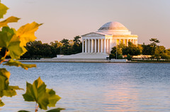 Thomas Jefferson Memorial (Music Celebrations International) Tags: beautiful travel tourism buildingexterior colonnade tidalbasin memorial downtowndistrict dusk steps neoclassical awe history circle multicolored oldfashioned cultures architecture nature urbanscene outdoors jeffersonmemorial washingtondc leaf tree reflection sunlight sunset autumn marble sky water dome architecturalcolumn staircase citystreet parkmanmadespace monument cityscape city