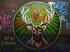 Y0! Yo! Lubuski (Steve Taylor (Photography)) Tags: rendeer antlers rays tag streetart animal mural graffiti colourful uk gb england greatbritain unitedkingdom london texture leakestreet