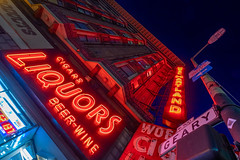 Hartland Hotel on Geary (atenpo) Tags: geary larkin hartland hotel woeners liquors market sro single room occupancy neon tenderloiin san francisco ca california night lights