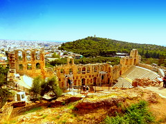 The Odeon of Herodes Atticus. On the Background - The Philopappos Monument (dimaruss34) Tags: newyork brooklyn dmitriyfomenko image sky clouds skyline greece athens acropolis theatre citypanorama buildings trees ruins historiclandmark