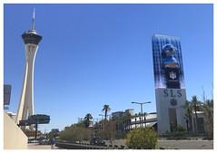 SLS and Stratosphere - S Las Vegas Boulevard (Markus Alydruk) Tags: sls stratosphere lasvegas lasvegasboulevard thestrip nv nevada usa america madhare sincity hotel casino resort street avenue road tower duck rubberduck clarkcounty