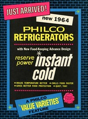 Philco Refrigerators Store Sign, 1964 (Alan Mays) Tags: ephemera storesigns advertisingsigns signs stores placards advertising advertisements ads paper printed philcorefrigerators refrigerators frigs appliances philco companies manufacturers value design power cold seals illustrations borders bricks blue yellow black pink 1964 1960s antique old vintage typefaces type typography fonts