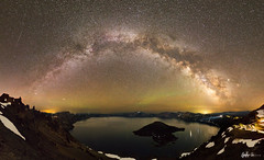 Milky Way Arch over Crater Lake (g-liu) Tags: airglow night sky milkyway stars craterlake craterlakenationalpark nationalpark water lake island dark snow slopes watchman arch astrophotography sony a6500 panorama microsoftice naturallight july summer 2019 sigma
