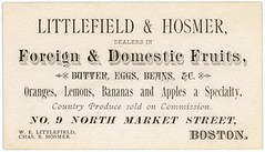 Littlefield and Hosmer, Dealers in Foreign and Domestic Fruits, Boston, Mass., 1880s (Alan Mays) Tags: ephemera businesscards tradecards advertising advertisements ads cards names paper printed littlefieldhosmer littlefieldandhosmer littlefield welittlefield hosmer chasbhosmer charlesbhosmer dealers commissionmerchants commissions merchants foreign domestic fruits oranges lemons bananas apples butter eggs beans countryproduce produce marketstreet boston ma mass massachusetts victorian 19thcentury nineteenthcentury 1880s antique old vintage typefaces type typography dropshadow fonts