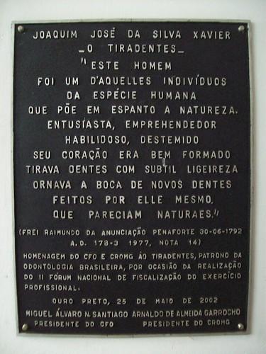 Placa comemorativa na Casa de Tiradentes - Ouro Preto