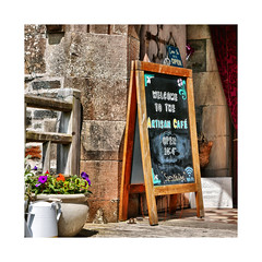 Refreshments (CJS*64) Tags: scotland colour colours squareformat square squares travel travelling travelphotography tyndrum refreshments cafe artisancafe cjs64 craigsunter craig wayin sign welcome panasonic lx100 panasoniclx100