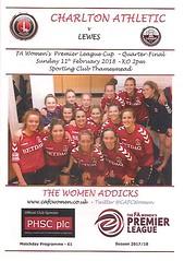 Charlton Athletic v Lewes (Charlton Athletic Programmes) Tags: charlton charltonathletic lewes ladies women womenscup fawomenspremierleaguecup quarterfinal 1718