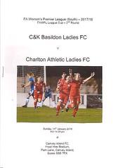 C&K Basildon v Charlton Athletic (Charlton Athletic Programmes) Tags: basildon ckbasildon charltonathletic charlton ladies women fawomenspremierleaguecup womenscup 1718