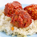 Meatballs with Tomato Sauce on the Risotto