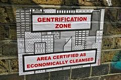 Gentrification Zone, London, UK (Robby Virus) Tags: england unitedkingdom uk greatbritain gb london british street art artist subdude paste pasted pasteup paper wheatpaste gentrification zone cleansed economically