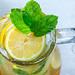 Top view jug with fresh lemonade