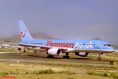 THOMSON B757 G-BYAD (Adrian.Kissane) Tags: 2004 lanzarote thomson b757 26963 gbyad plane aircraft jet aeroplane airline boeing airliner sky outdoors airport aviation departing taxing 757