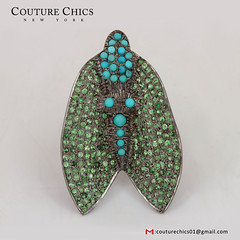 Fine 4.47Ct Tsavorite Gemstone Pave 925 Sterling Silver Fly Style Turquoise Ring Jewelry (couturechics.facebook1) Tags: fine 447ct tsavorite gemstone pave 925 sterling silver fly style turquoise ring jewelry