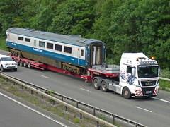 RV68YDC  10235 (47604) Tags: rv68ydc lyon stgo lorry truck rfm 10235 coach carriage buffet heavy haulage man inter city mk3a blue white railway