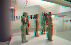 CODA Museum Apeldoorn 3D (wim hoppenbrouwers) Tags: coda museum apeldoorn 3d paperart helmiebrugman anaglyph stereo redcyan