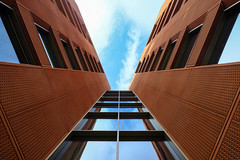Burnt Umber (The Green Album) Tags: red ochre burnt umber perspective lookingup windows glass symmetry modern contemporary architecture sky reflection london fujifilm xt2