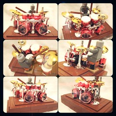 LEGO Red Chrome Drumset - Zombie Lombardo (SergioBatista) Tags: chrome drummer drums lego chromeblockcity moc music zombie davelombardo