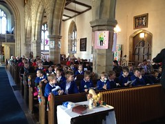 Pupils attending a service at St Laurence Church - 2016
