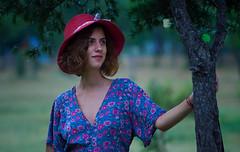 Mari Lisi Tree (*sandro*) Tags: olympus em10 em omd om mzuiko zuiko lens mft m43 43 micro four thirds microfourthirds 75mm 18 f18 natural light girl georgia lisi lake tbilisi outdoor portrait blurred background blur tree hat dress
