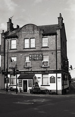 The Commercial Inn, Morley (vickyhindle) Tags: blackwhite 35mmfilmphotography ilfordfp4 canoneos3 canonef50f14 architecture