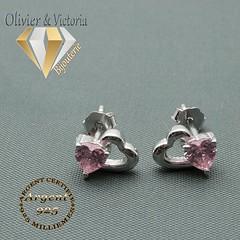 Boucles d'oreilles 2 coeurs dont un rose en argent 925 (olivier_victoria) Tags: argent 925 oreille boucle doreille zircon rose coeur boucles doreilles