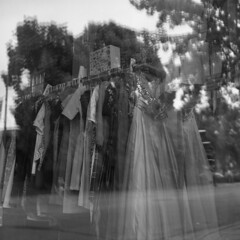 untitled (kaumpphoto) Tags: rolleiflex 120 tlr street urban city minneapolis ilford hp5 bw black white dress window selection reflection glass mirror gown xl fabric
