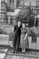 Blurred couple (vintage ladies) Tags: female woman lady portrait people photograph photo 50s 50slady 50swoman 50sstyle man male blurred blurry smile smiling 50sman suit tie
