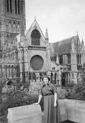 By the cathedral (vintage ladies) Tags: female woman lady portrait people photograph photo 50s 50slady 50swoman 50sstyle cathedral dress eoshe
