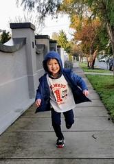 Happy Liam running to school in his hoodie t-shirt (avlxyz) Tags: