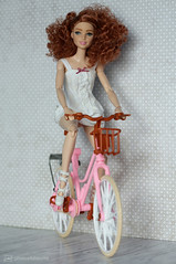 new bike (photos4dreams) Tags: dress barbie mattel doll toy photos4dreams p4d photos4dreamz barbies girl play fashion fashionistas outfit kleider mode puppenstube tabletopphotography shioban redhead siobhán ooak handmade custom fahrrad bike bicycle