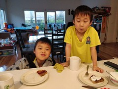 Happy Isaac eating peanut butter and jam toast, Liam toast with jam and yoghurt (avlxyz) Tags:
