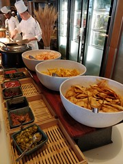 Corn chips, wonton chips, prawn cracker, porridge condiments - Kitchen Workshop, Crown Casino Melbourne (avlxyz) Tags: buffet allyoucaneat casino