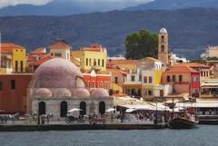 chania (try...error) Tags: chania hania crete kreta rethymno rethymnon sea blue orange yellow mosque greece