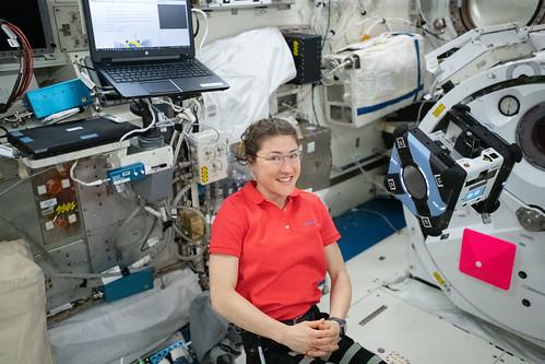 Flight Engineer Christina Koch monitors Astrobee